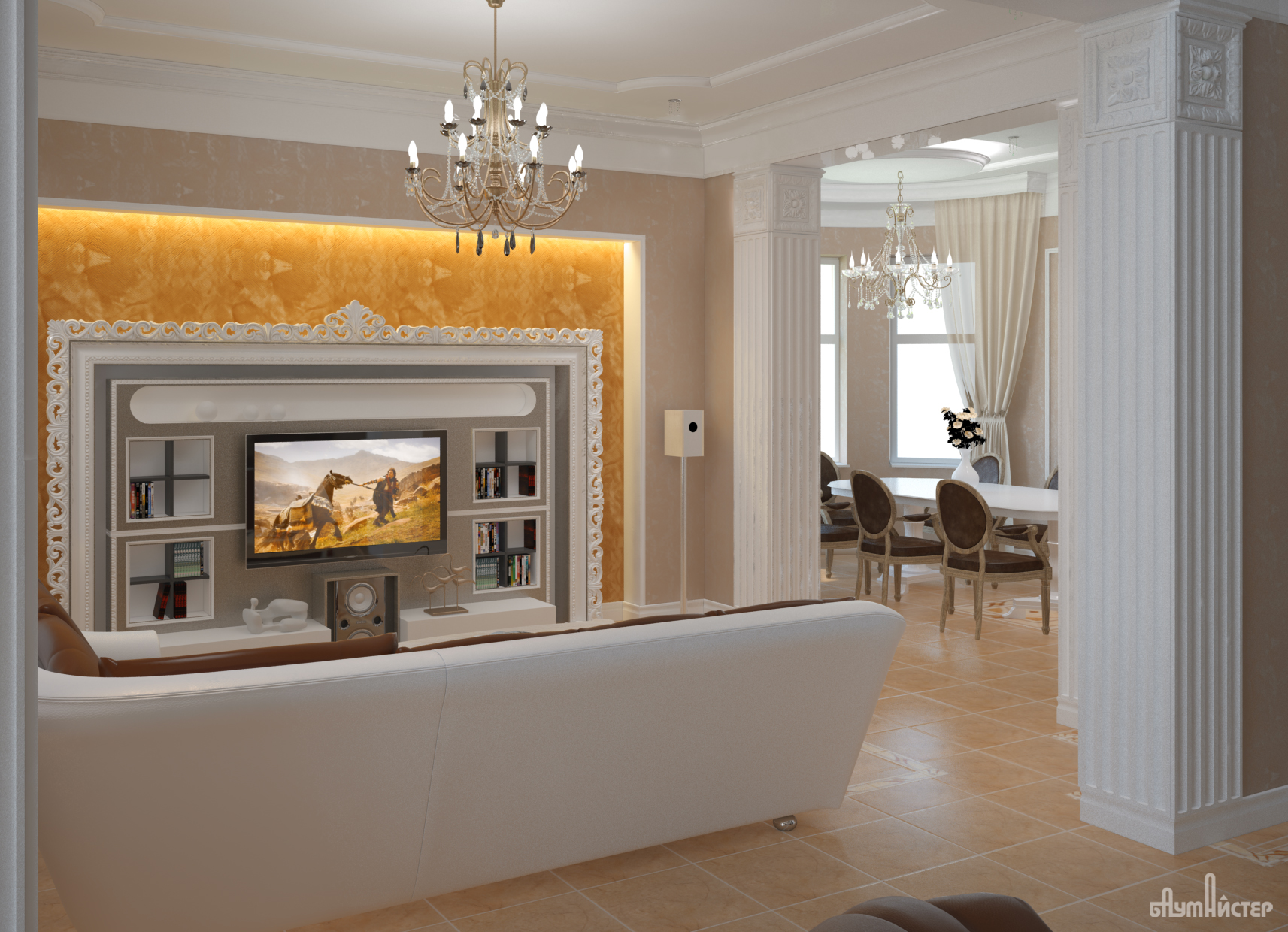 проект интерьера коттеджа. гостиная с нишей под ТВ