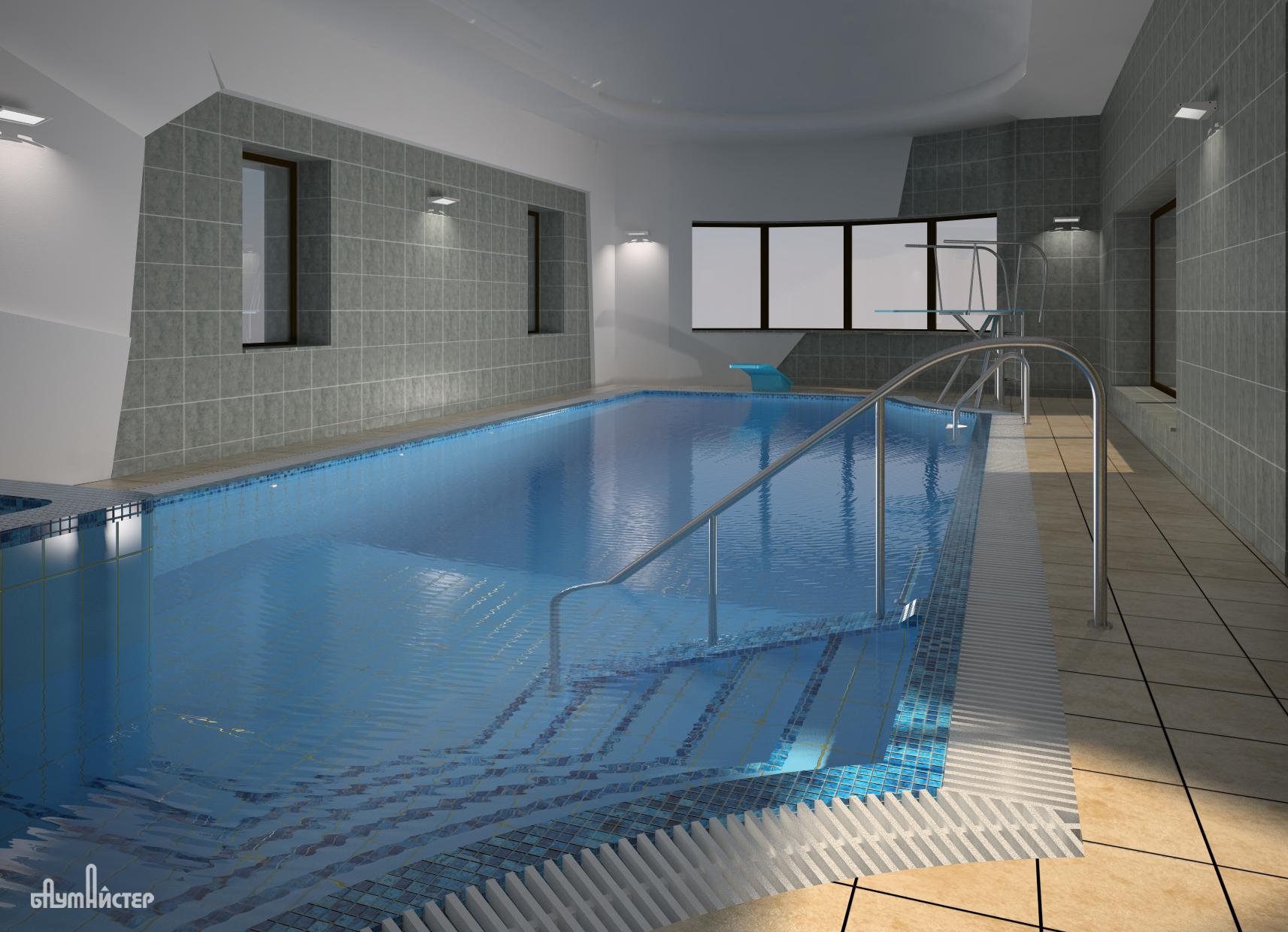 проект интерьера бассейнам в современном стиле
