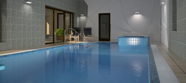проект интерьера бассейна с ломанными панелями