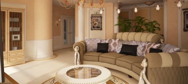 проект гостиной с колоннами
