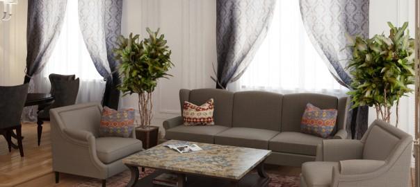 проект интерьера квартиры. гостиная вид1