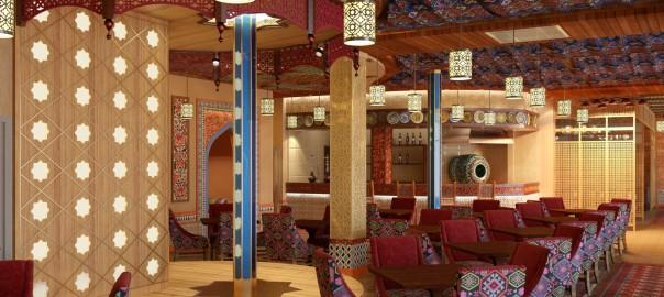 проект интерьера кафе в восточном стиле, вид3