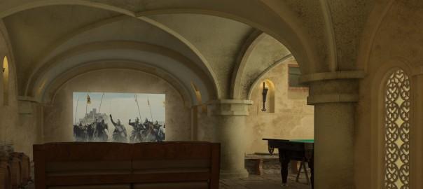 проект интерьера подвала в готическом стиле вид2