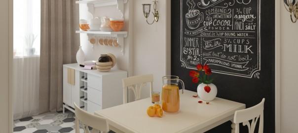 проект интерьера кухни с меловой доской вид2